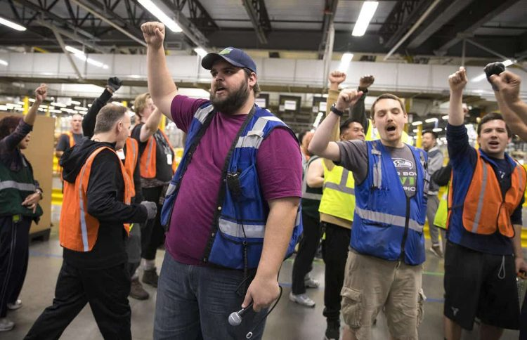 amazon workers at strike