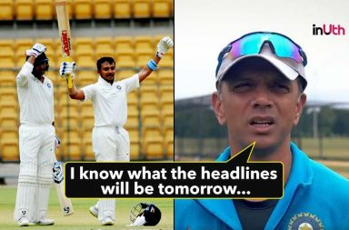Rahul Dravid, Prithvi Shaw, Mayank Agarwal, India A vs South Africa A 2018, South Africa A's tour of India, Prithvi Shaw 7th First-Class century, Prithvi Shaw 136 vs South Africa A, Mayank Agarwal 220 vs South Africa A