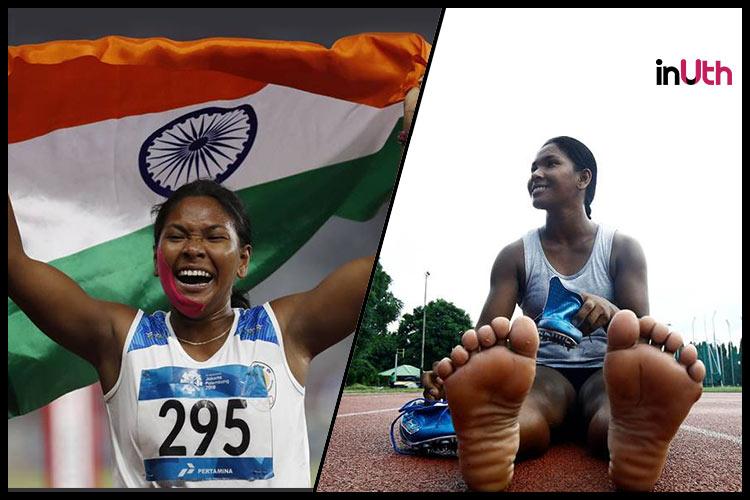 Swapna Barman, Swapna Barman gold medal, Swapna Barman Heptathlon, Swapna Barman 12-toed feet, Swapna Barman 6 toes, Swapna Barman shoes, Swapna Barman Asian Games gold medal, Asian Games heptathlon gold medal 2018, India Asian Games 2018 gold medal winners