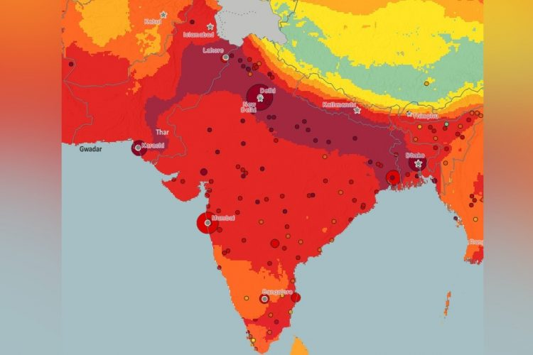 pollution particulate matter south asia map