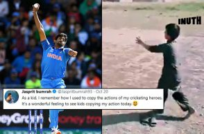 Jasprit Bumrah, Jasprit Bumrah bowling action, Kid copies Bumrah's action, 5-year-old Pakistani kid Bumrah action, Jasprit Bumrah bowling action video, Jasprit Bumrah viral video