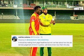 Imran Tahir, Imran Tahir 5 for 23 vs Zimbabwe, Imran Tahir-Brandon Mavuta, Tahir-Mavuta, Tahir sportsmanship, Tahir giving tips to bowler, Tahir-Rashid Khan, SA v ZIM 1st T20I, Zimbabwe's tour of South Africa 2018, South Africa vs Zimbabwe