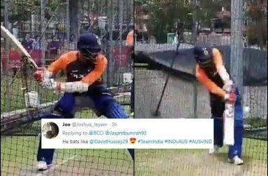 Jasprit Bumrah, Jasprit Bumrah batting, Jasprit Bumrah hitting sixes, Jasprit Bumrah hitting, Jasprit Bumrah nets, Jasprit Bumrah trolled, BCCI trolled