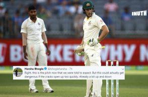 India vs Australia Perth Test, India's tour of Australia 2018, IND v AUS 2nd Test, AUS v IND 2nd Test, Perth green wicket, Jasprit Bumrah bounce, Tim Paine surprised, Hanuma Vihari wicket, Marcus Harris half-century, Virat Kohli catch
