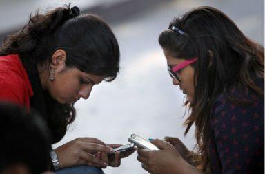 indian girls using phone social media