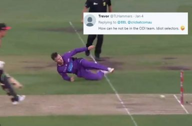 D'Arcy Short, D'Arcy Short runout, D'Arcy Short BBL 2018-19, D'Arcy Short Hobart Hurricanes, Moises Henriques run out, Hobart Hurricanes vs Sydney Sixers 2019, Sydney Sixers vs Hobart Hurricanes 2019, BBL 2018-19, Best run out of 2019, Run out of the year, Best BBL run outs