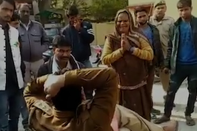 Shameful! Elderly Woman Had To Beg, Touch Feet Of UP Cop For FIR