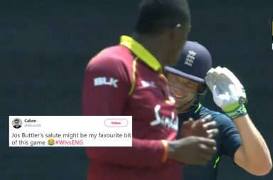 Jos Buttler, Sheldon Cottrell, Jos Buttler salute, Jos Buttler 150, Jos Buttler funny, Sheldon Cottrell salute celebration, England's tour of Windies 2019, Windies vs England 4th ODI 2019, Jos Buttler salutes Cottrell, Jos Buttler trolls Cottrell