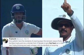Faiz Fazal, Domestic cricket umpiring, Irani Cup 2019, Vidarbha vs Rest of India, Rest Of India vs Vidarbha, Faiz Fazal decision, Umpire Nandan, Umpire Nandan blunder, Umpiring blunder