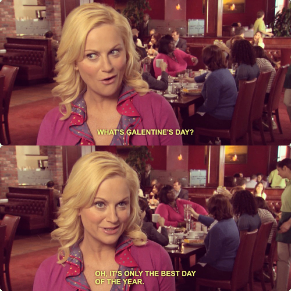 parks and rec, galentine's day, leslie knope