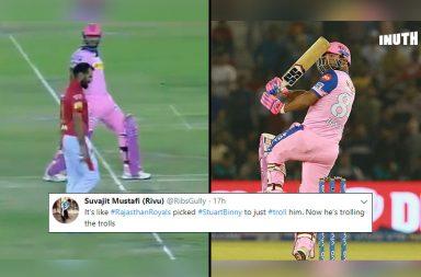 Stuart Binny, Stuart Binny 33 off 11, Stuart Binny Rajasthan Royals, Kings XI Punjab vs Rajasthan Royals 2019, KXIP vs RR 2019, IPL 2019, Stuart Binny trolled, Stuart Binny IPL record, Stuart Binny IPL 2019, Stuart Binny Ashwin mankading