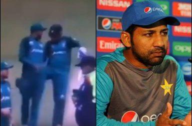 Sarfaraz Ahmed, Sarfaraz kicks Azam, Sarfraz Ahmed-Babar Azam, Babar Azam, Northamptonshire vs Pakistan 2019, Pakistan vs Northamptonshire 2019, World Cup 2019, Sarfaraz Ahmed angry