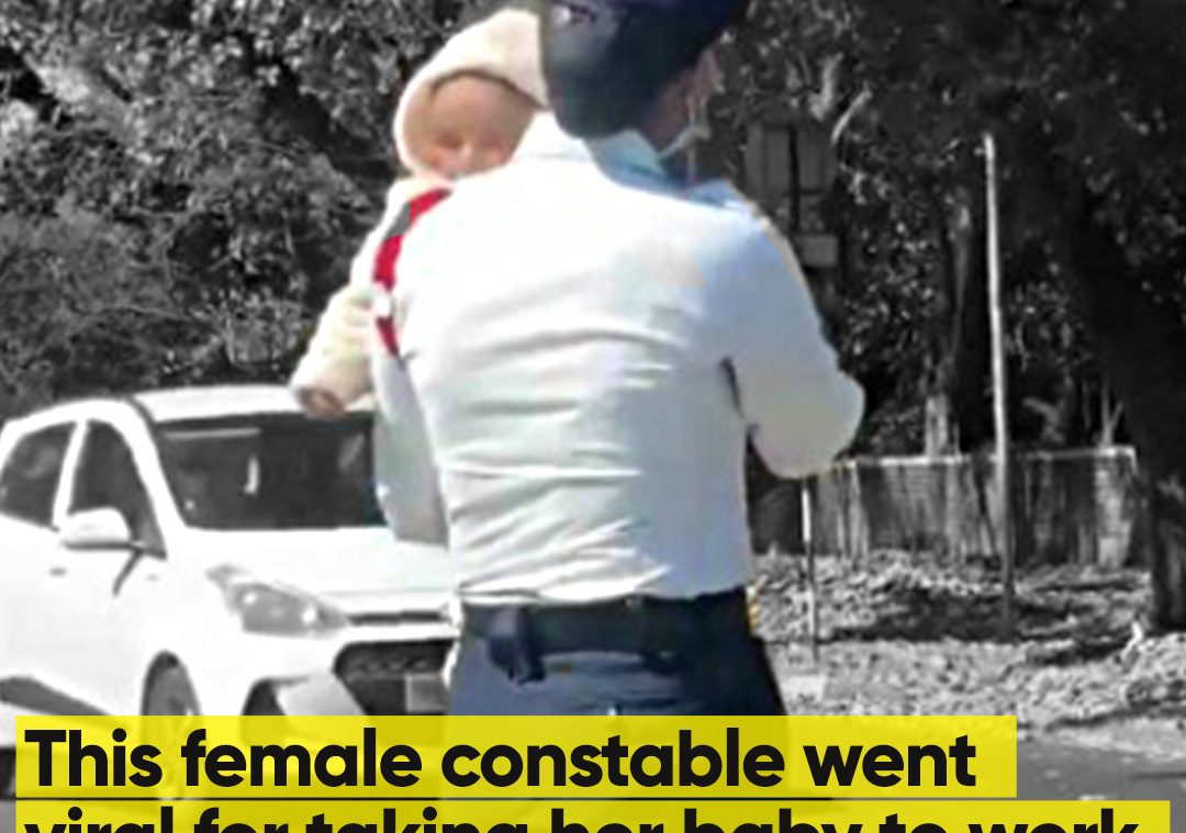 This female constable went viral for taking her baby towork